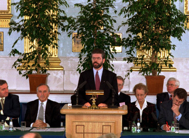 Sinn Féin President Gerry Adams addresses the Forum for Peace and Reconciliation in Dublin Castle,1994.