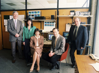 Gerald Fleming, Evelyn Cusack and the Met Éireann presenting team, back in 1990.