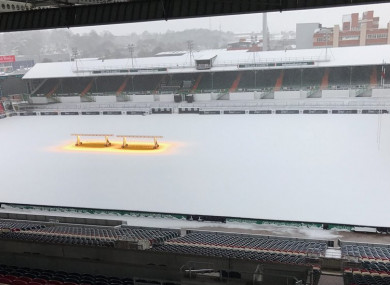 The scene at Welford Road this morning.