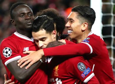 Liverpool quartet Sadio Mane, Philippe Coutinho, Mohamed Salah and Roberto Firmino.