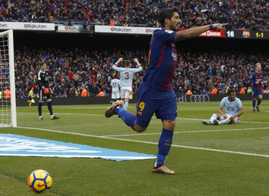 Suarez celebrates his goal.