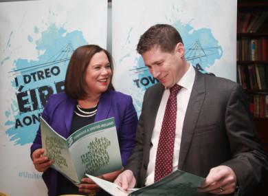MEP Matt Carthy alongside Mary Lou McDonald.