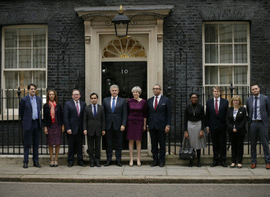 Theresa May with some of her new reshuffled cabinet.