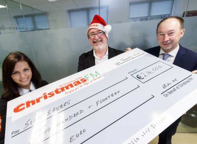 Ciara Smullen, Sightsavers, with Walter Hegarty, Christmas FM and Michael O' Keeffe, of the BAI.