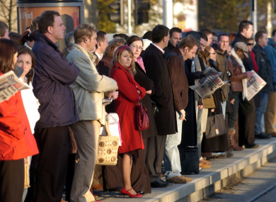 Early morning passengers waiting to board the Luas. (File)