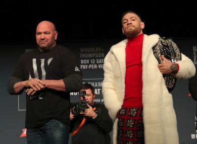 UFC president Dana White and Conor McGregor, the reigning UFC lightweight champion.