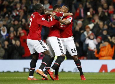 Man United players celebrate.