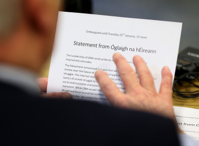 A statement from Oglaigh na hEireann read out at a press conference at the ICTU building in Belfast.