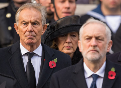 Blair and Corbyn and a Remembrance Day event last year.