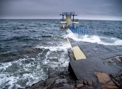 File image of waves hitting the diving platform at Salthill, Galway.