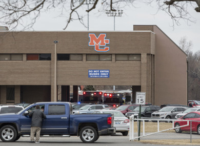 Emergency crews at Marshall County High School.