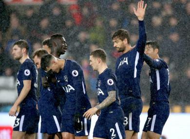 Former Swansea striker Fernando Llorente celebrates scoring against his former club.
