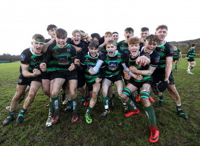 Bandon celebrate their victory over St Munchin's this afternoon.