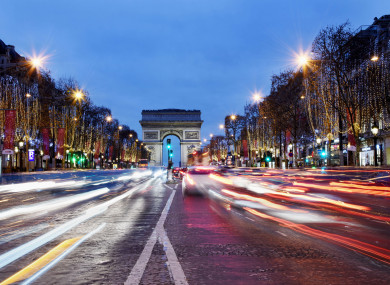 The Champs-Elysee at night.