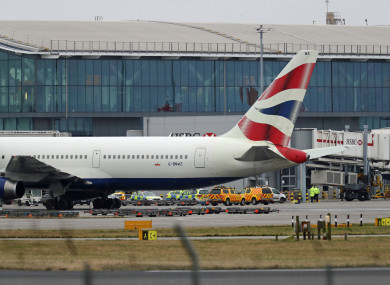 Police and airside operations vehicles at Heathrow Airport today.