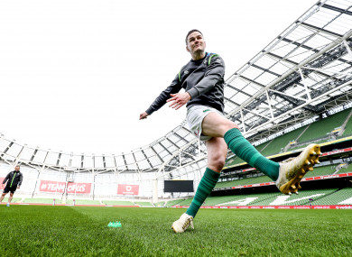 Sexton pictured kicking during the Captain's Run today.