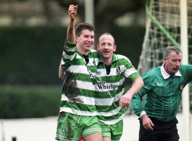 (L-R) Rovers' Leonard Curtis and Terry Eviston celebrate a goal.