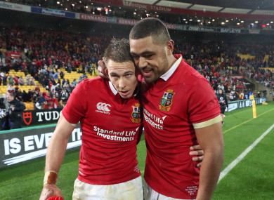 Williams and Faletau celebrate together after a Lions victory.