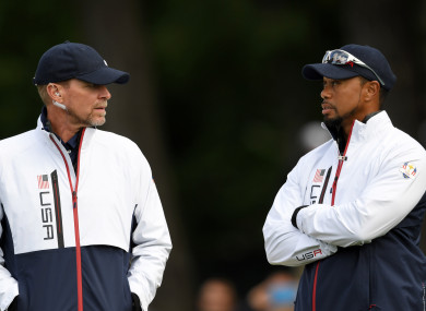 Stricker and Woods during the 2016 Ryder Cup.