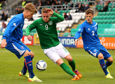 Sam Byrne in action for Ireland U19s.
