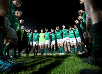 The Ireland squad in a huddle in the aftermath of last Friday evening's defeat to France in Bordeaux.