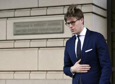 Alex van der Zwaan leaving court in Washington yesterday