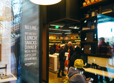 Inside the Amazon Go store in Seattle, which opened last month