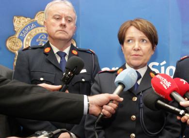 The Interim Garda Commissioner Dónall Ó Cualáin with former Commissioner Nóirín O'Sullivan.