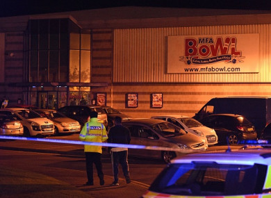Police stand guard inside a cordon near the MFA Bowl at The Bermuda leisure park in Nuneaton last year.
