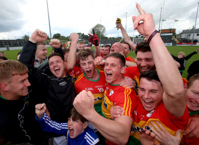 Carlow players celebrating last summer's win over Wexford.