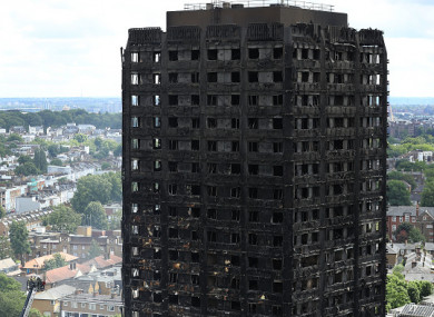 Grenfell Tower on 15 June 2017, the day after the fire