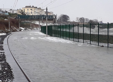 Flooding at Salthill & Monkstown Dart Station.