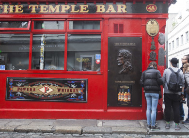 Tourists locked out of The Temple Bar last year.