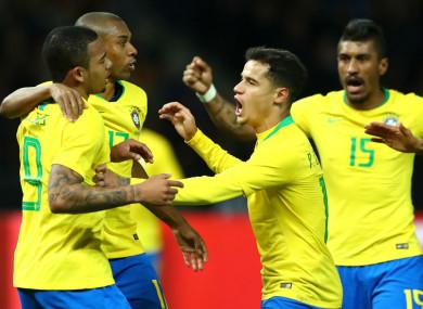 Brazil celebrate against Germany