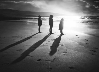 Long shadows on Fanore Beach in Clare.