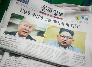 Copies of the Munhwa Ilbo newspaper sit in a pile at the paper's printing facility in Seoul, South Korea.
