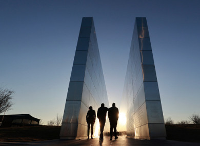 People walk through the Empty Sky 9/11 memorial in Liberty State Park.