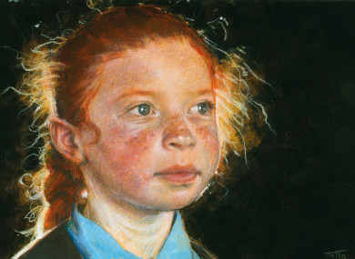 Lawlor captured her neighbour in acrylic and colour pencil.