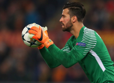 Roma goalkeeper Alisson (file pic).