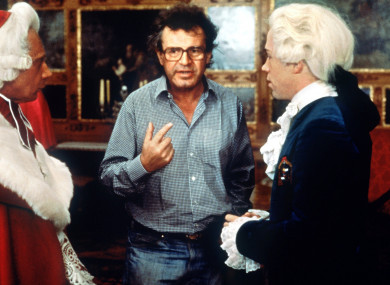 Milos Forman on the set of Amadeus