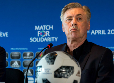 Carlo Ancelotti ahead of the Match For Solidarity in Geneva