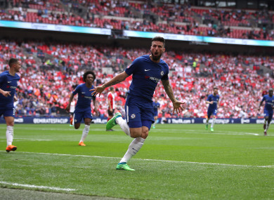 Chelsea's Olivier Giroud celebrates scoring his side's first goal of the game.