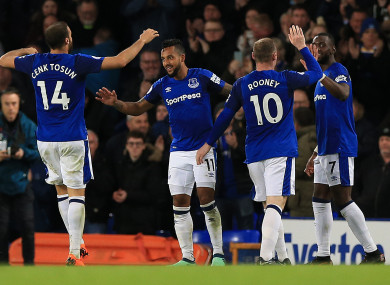 Everton's Theo Walcott celebrates scoring his side's first goal of the game.