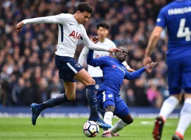 N'Golo Kante tackles Tottenham goalscorer Dele Alli.