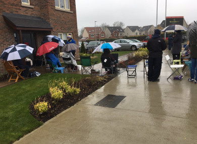 People queuing overnight in the rain to secure a house in Dublin 15.