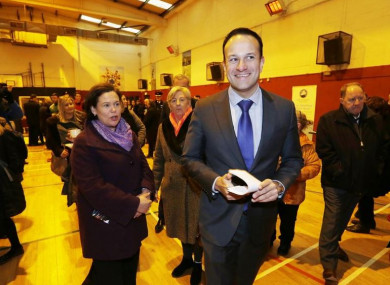 Mary Lou McDonald and Leo Varadkar pictured at the launch of the first annual report of the North East Inner City Initiative in Dublin in February