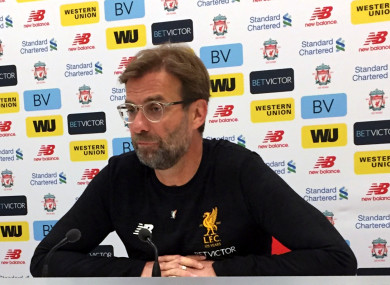Klopp wore an Irish tricolour Liver Bird badge at this morning's press conference.
