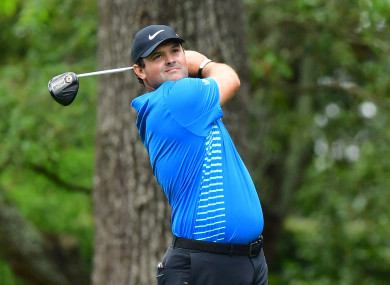 Patrick Reed hits off the 2nd tee during the third round of the 2018 Masters Tournament.