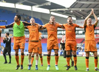 Wolves celebrating