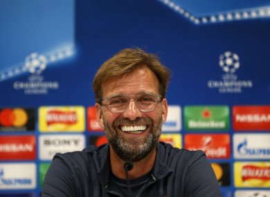 Klopp during this afternoon's press conference at Melwood.